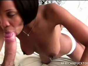 Gorgeous African amateur does her best to squeezes bf white