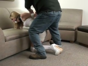 ball-gagged blonde struggles in white-stockings and heels