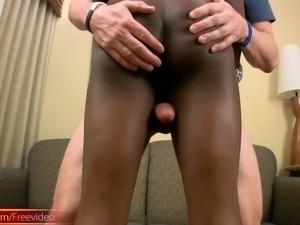 Lovely ebony femboy blowjobs and rides cock