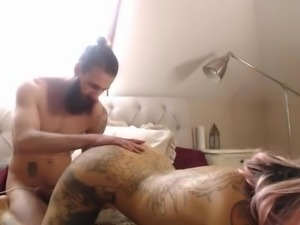 Hot tattooed babe with nice tits gets anal