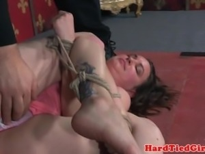 Spread slave fingered then toyed in pussy