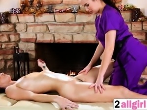 Massage ends in a yummy lesbian sex.