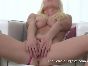 Blonde Masturbates to Sex Flushed Screaming Orgasm