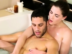 Masseuse blows in bath