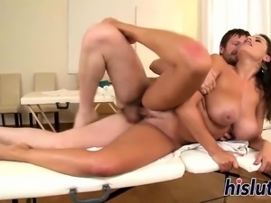 Big natural tits get showered with jizz