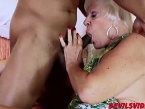 Horny granny gets banged by black stud