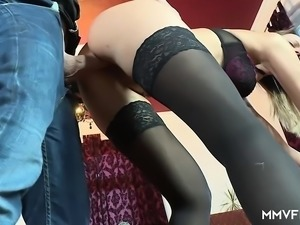 German wife enjoys fucking with a young big cock