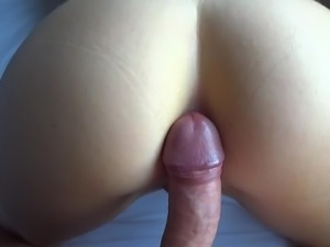 Rubbing wife's ass hole with my bell end!