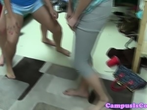 College redhead pussyfucks in dorm doggystyle