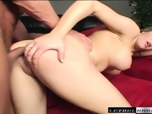 Big breasted blonde has a muscled stud roughly banging her tight ass