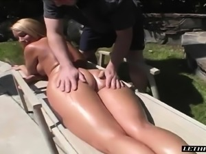 Stacked blonde milf Mellanie gets a sensual massage and a hard fucking