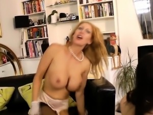 Busty british milf sixtynining stockinged gal