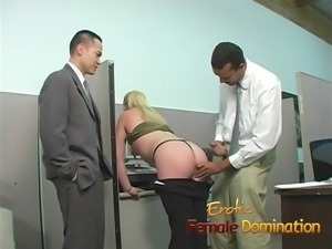 The first day at work and this slutty blonde is already covered with cum...