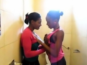 Gorgious Busty African Lesbians action in the shower.