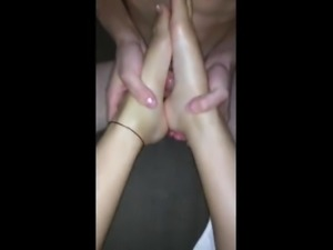 Asian Gilfriend Gives Asian Bf A Footjob