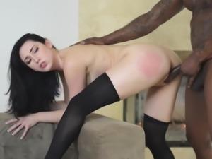 dark haired girlfriend takes nice interracial pounding