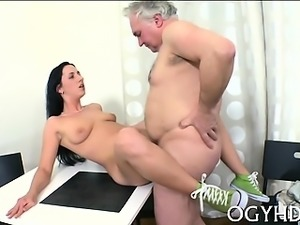 Juicy young hottie enjoys getting old pecker in pussy
