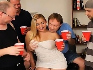 Chubby Blonde Swallows Cocks and Cum Tampa Bukkake