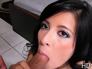Hunk gets his hard pecker licked by two beauties