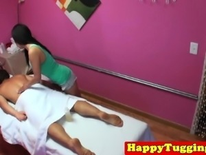 Asian masseuse sixtynines and jerks client