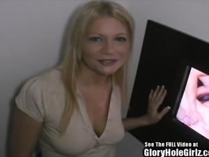 Blonde Big Nipple Blowjobs in Glory Hole