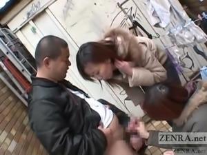 Japanese women public femdom handjob Subtitle
