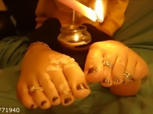 candle waxing on blonde girlfriend feet toes and soles pt1