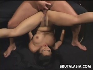 Fantastic big titty brunette Asian mesmerizer getting anal f