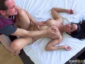 Dirty MILF with big tits rides a guy's cock like a cowgirl