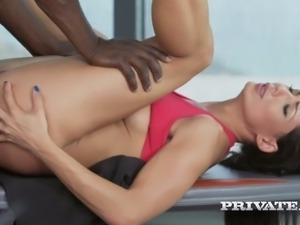 Black feverish buddy bangs anus and pussy of sexy European bitch Alexa Tomas...