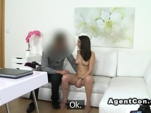 Hairy cunt model licked and banged in casting