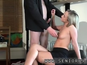 Redhead makes her pussy cream and abused by old man Woody is