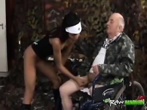 Naughty Nurse Seduces And Fucks Handicapped Old Guy
