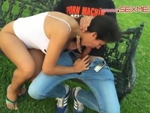 Silvia Santez from SexMex fucks outside