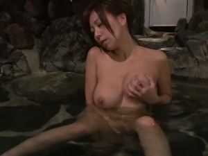 Sensual Japanese gal Chihiro Akino takes bath and masturbates alone