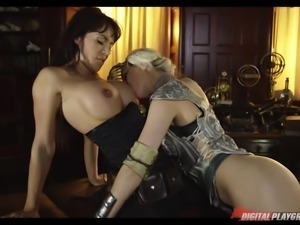 Two ridiculously good-looking lesbian honeys lick each other out