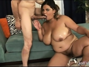 Chunky caramel lady gets her hairy snatch drilled deep and creampied