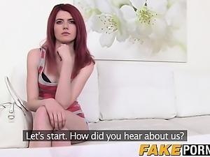 Slender redhead teen Anne Swix enjoys her casting adventure
