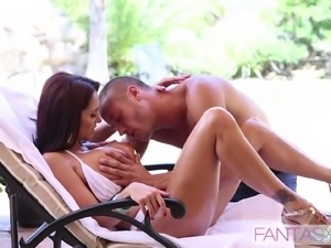 Gorgeous brunette MILF with big tits gets fucked by her new lover