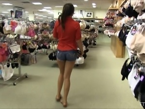 Tit flashing at the mall while a cutie goes shopping