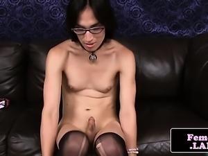 Femboy toys ass with dildo while masturbating