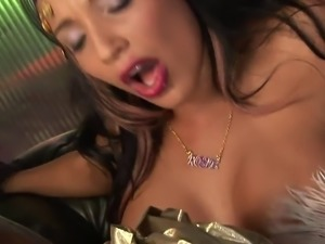 Sensi submerges her fingers in her twat before getting pounded doggystyle
