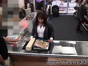 Really hot brunette MILF sells her husband's stuff for bail