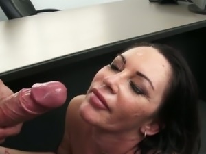 Bosomy manager Dayton Rains nailed hard by a hot guy who needs  a job