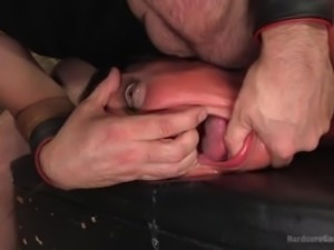 Filthy basement slave slut relentlessly fucked by 5 cocks!