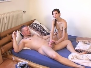 Bug muscular guy gives the fragile chick a German kind of pounding