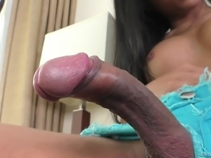 Shemale with a nice body decides to reveal her curvaceous pole
