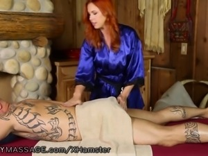 Curvy Redhead Massages Clients Prostate