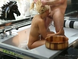 Yummy busty blonde Luna Star gets doggy fucked in massage parlor