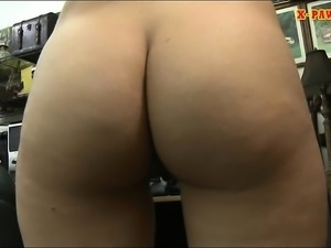 Short blond hair babe gets her pussy nailed by pawn guy